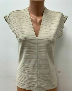WOLFORD Viscose size M Beige Knitted Jumper Top Blouse Sweater LOGO