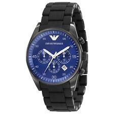 NEW Emporio Armani AR5921 Analog Blue Dial Quartz Men's Black Chronograph Watch