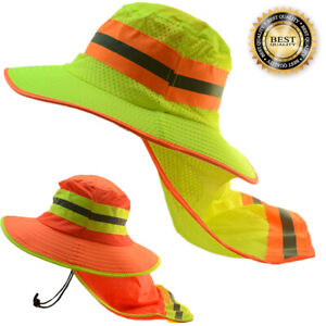 Hi Visibility Reflective Safety Neck Flap Boonie Hats Ventiation Bucket Cap LOT