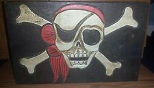 Hand Carved Wood Pirate Bandanna Skull And Cross Bones Treasure Box Chest