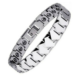 Men Silver Tungsten High Power Magnets Therapy Bracelet Energy Bangles Wristband