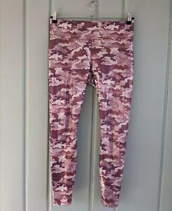 Fabletics Powerhold Leggings Womens Medium M 8 10 Pink Camo Shine Foil Metallic