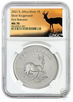🇿🇦2021 South Africa 1 oz Silver Krugerrand Coin NGC MS70 FR WC Springbok Label