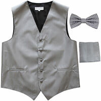 New Men's Formal Vest Tuxedo Waistcoat_bowtie & hankie set stripes silver gray