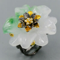 Green Jade Ring Silver 925 Sterling Handmade SET50ct+ Size 8.5 /R130359
