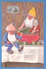 TWO GNOMES Christmas VINTAGE POSTCARD 302