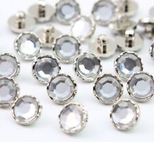 DIY 100pcs 11mm Round Clear Crystal Rhinestone Sewing Acrylic Buttons Craft Hot