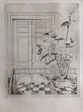 David KERRING né en 1933.Via Montebello 23.Eau-forte.SBD.48x38.16/75.Titré.
