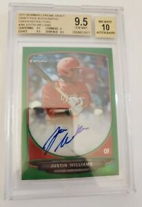 Justin Williams 2013 Bowman Chrome Green Refractor Auto #/75 BGS 9.5/10 Cards