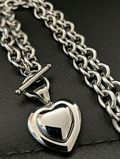 Personalised Christmas Gift, Silver Steel Heart Chunky Toggle Chain Necklace