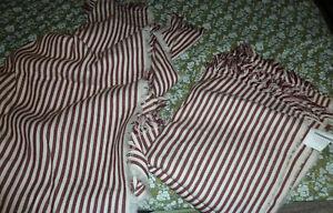 2 x Ikea 120 x 180 cms striped white/red-brown 100% cotton throws x 2