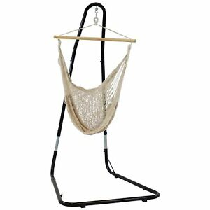 Sunnydaze Large Natural-Color Mayan Hammock Chair with Portable Adjustable Stand