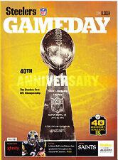 Steelers Saints Gameday Program ticket Chuck Noll Super Bowl Anniversary