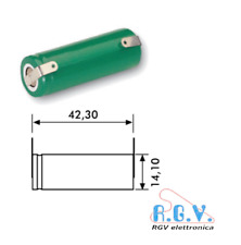 Batteria ricaricabile NI-MH 4/5AA 1,2V 1100mAh 14,1x42,3mm a saldare con lamelle