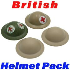 LEGO WWII British Helmet Printed 4 Pack Brodie Medic Army Soldier Military Lot