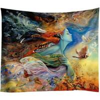 Goddess Tapestry Butterfly Bird Watercolor Print Wall Hanging Decoration Room