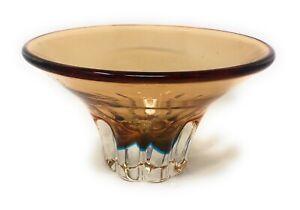 Studio Glass Bowl, Yellow/Orange, Flower Design Look To Base