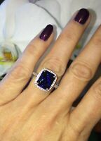 2.50Ct Emerald Cut Blue Sapphire Halo Engagement Ring 14K White Gold Finish