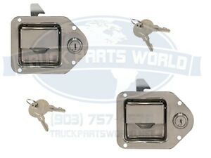 "2 Trailer Paddle Door Latch Handle RV Truck Tool Box Lock Steel Key 4-3/8""3-1/4"""