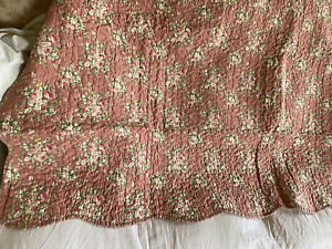 Floral Quilt. Vintage Style Bed Cover. Pink & Stripes / French Decor 130x180cm