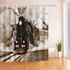 Retro Steam Train With Smoke Waterproof  Fabric Shower Curtain Extra Long 84 In