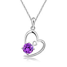 Solid 925 Sterling Silver Amethyst Purple Heart Wedding Bridal Necklace N32