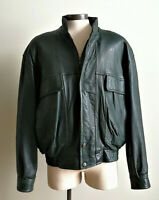 DANIER mens L green insulated genuine leather bomber jacket Thinsulate lining