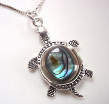 Turtle Abalone 925 Sterling Silver Necklace