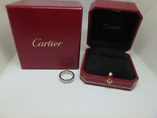 Auth Cartier Tank Francaise 18K White Gold Ring size 6.25