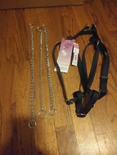 "Lot - Dog Harness Sz Large for Walking L 25-40"" + 3 Chain Collars (Training) New"
