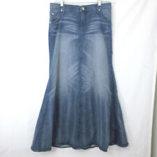 BEBE Size 10 Blue Denim Skirt Wiskers Designer Rare Sample Not For Resale