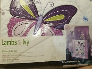 Lambs And Ivy Purple/white Butterfly Lane 5 Piece Crib Set Collection