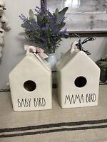 Rae Dunn MAMA BIRD & BABY BIRD Birdhouses Set Of 2