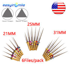 6x Endodontic Pro Gold Taper Rotary File Dental Niti Engine Use Files 212531mm