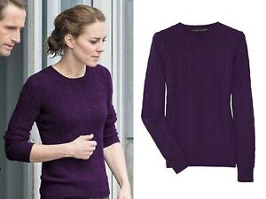 RALPH LAUREN BLACK LABEL 100% Cashmere Slim Fit Cable Sweater ASO Kate Middleton