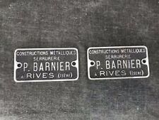 P. BARNIER à RIVES , ISÈRE deux plaques en aluminium meuble usine atelier loft