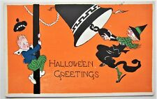 Art Deco HALLOWEEN Gibson Lines Postcard WITCH Rings Bell Scares CHILD