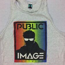 Vintage PUBLIC IMAGE Tank Top Sleeveless Shirt Size Large 90s USA Made Vaporwave
