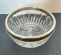 Vintage Crystal Bowl with Silver plated Rim Made by Leonard in Italy