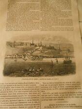 Vue de la Ville de Québec capitale du Canada Gravure Print 1844
