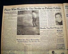 THE MASTERS TOURNAMENT Gary Player Wins Golf Major at Augusta 1961 Old Newspaper