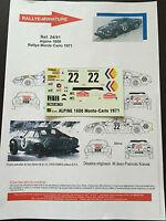 DECALS 1/24 ALPINE RENAULT A110 ANDRUET RALLYE MONTE CARLO 1971 WRC RALLY
