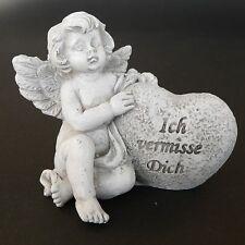 """Grabschmuck Grabengel mit Herz """"Ich vermisse Dich"""" Trauerengel Grabdeko Engel"""
