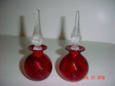 SET OF TWO PAIRPOINT 34% RED LEAD CRYSTAL SWIRL PERFUME BOTTLES W SWIRL STOPPERS