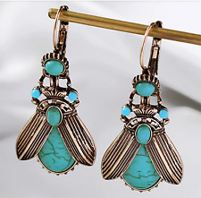 NEW DESIGN Bee Moth Beetle Insect Abalone McQueen Style Faux Turquoise Earrings