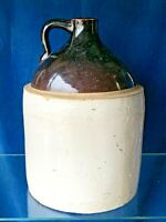 Antique Primitive Moonshine Jug Stoneware Brown Stone 2 Tone Whiskey Crock ❤️m9