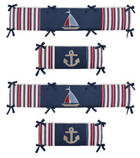 Modern Red Navy Blue Nautical Sail Boat Theme Baby Boy 4 Piece Crib Bumper Pad