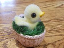 Vintage Josef Originals Flocked Chick in Brown Basket Easter Decor w Tag