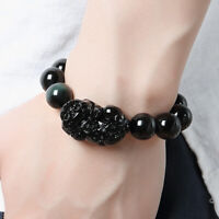 Feng Shui Obsidian Stone Wealth Pi Xiu Bracelet Attract Wealth and Good Luck Top