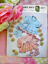 Vintage Knitting Pattern Matinee Coat & Booties For Baby, 2 Styles.   FREE P&P!!